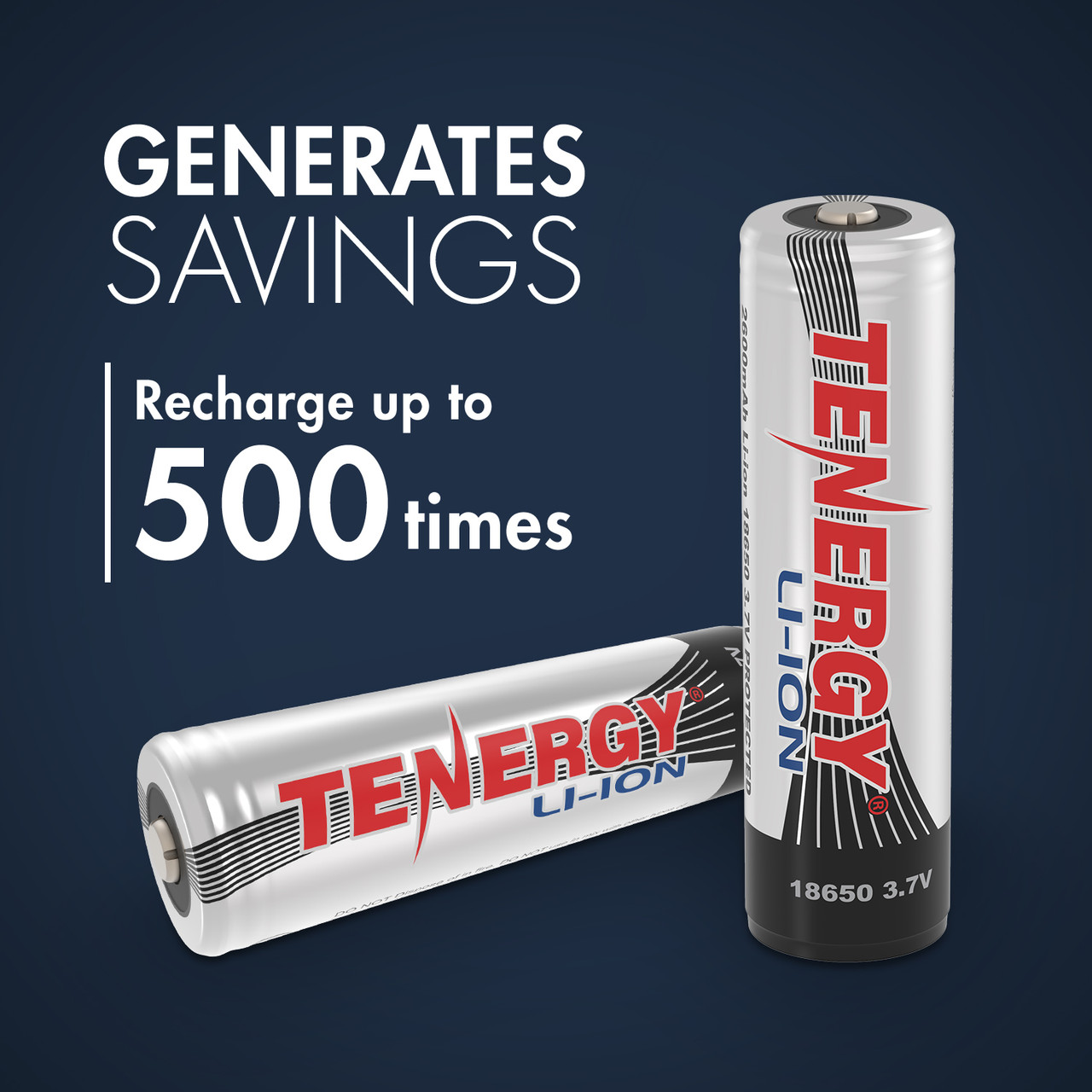 Tenergy Li-ion 18650 Cylindrical 3.7V 2600mAh Button Top Rechargeable Battery w/ PCB