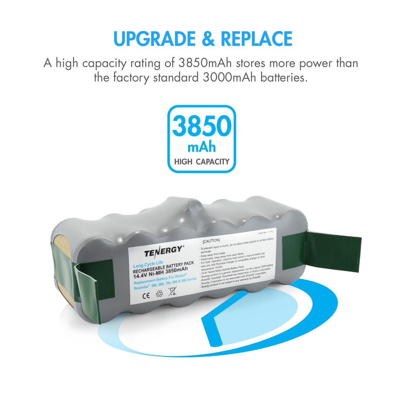 Tenergy New Long Cycle Life 3850mAh NiMH Roomba Replacement Battery For 500, 600, 700, 800, & 900 Series