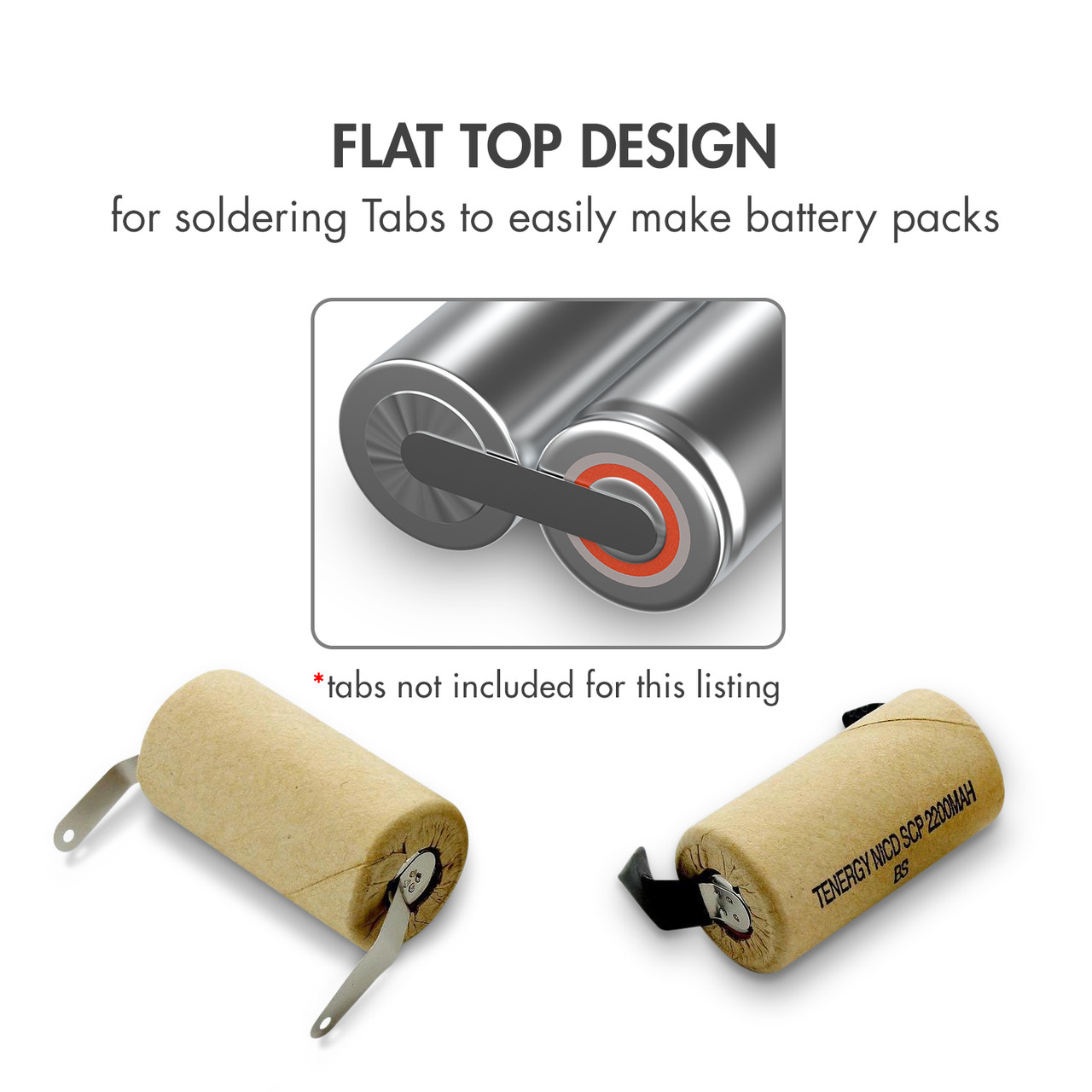 Tenergy NiCd Sub C 2200mAh Paper Wrapped Rechargeable Battery (Flat Top)