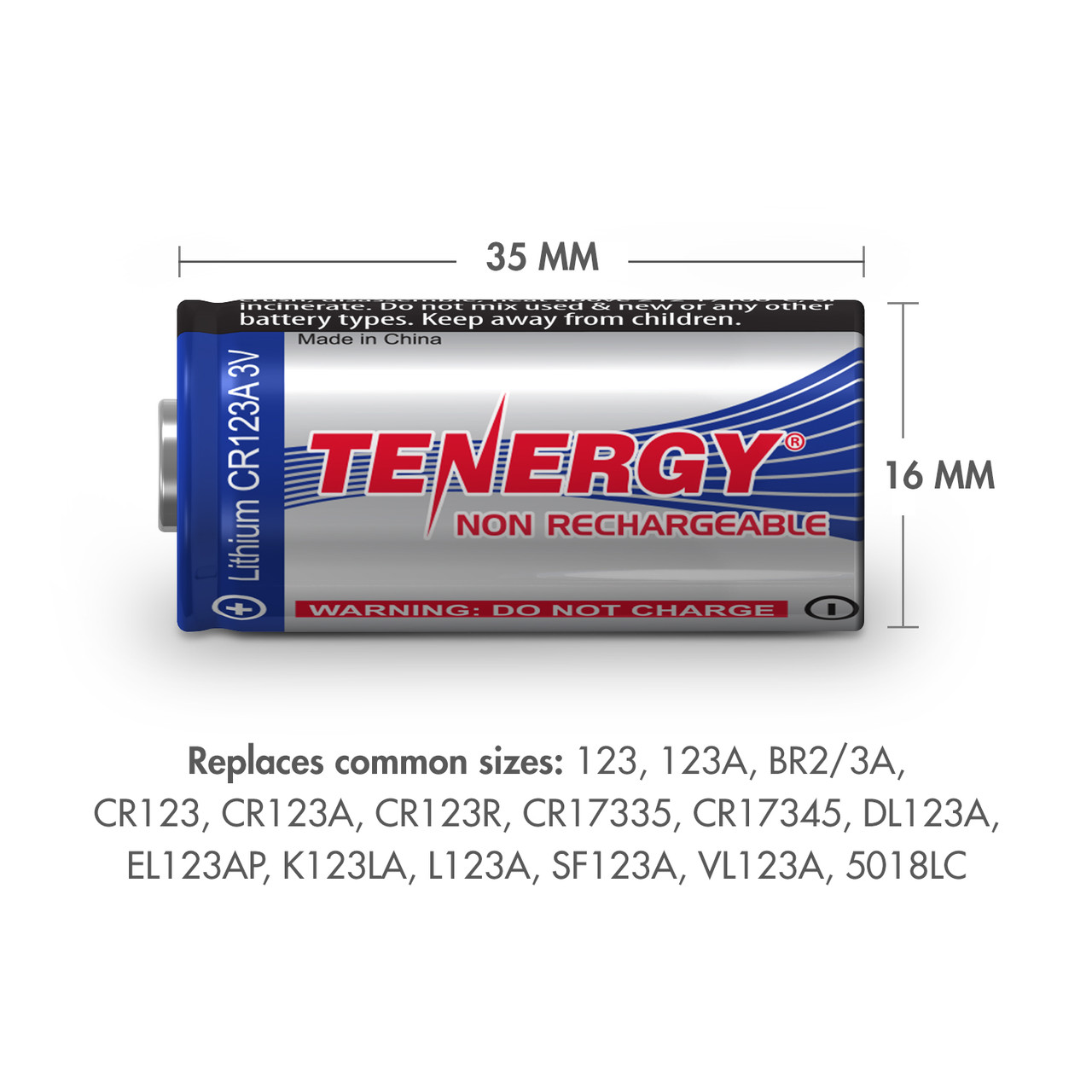 2-pack, Tenergy CR123A Lithium Battery with PTC Protected - [Non-Rechargeable]