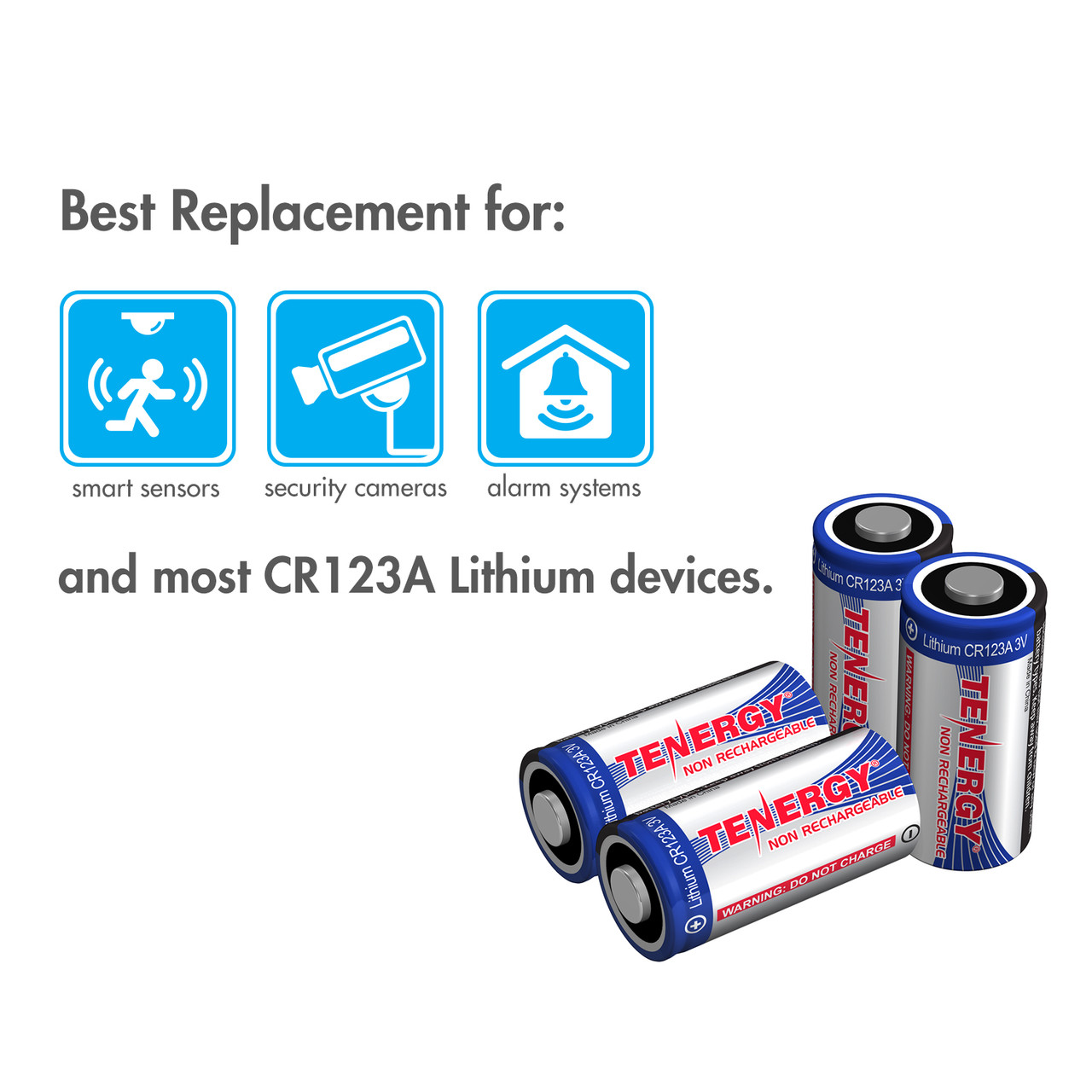 Tenergy CR123A Lithium Battery with PTC Protected (2 pcs) - Retail Card