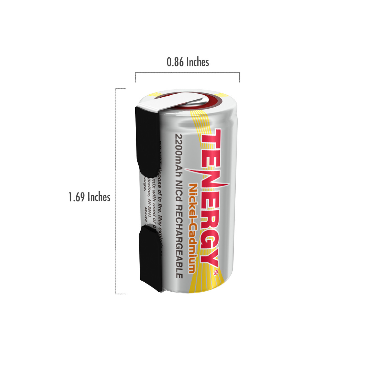 Tenergy SubC 2200mAh NiCd Flat Top Rechargeable Battery