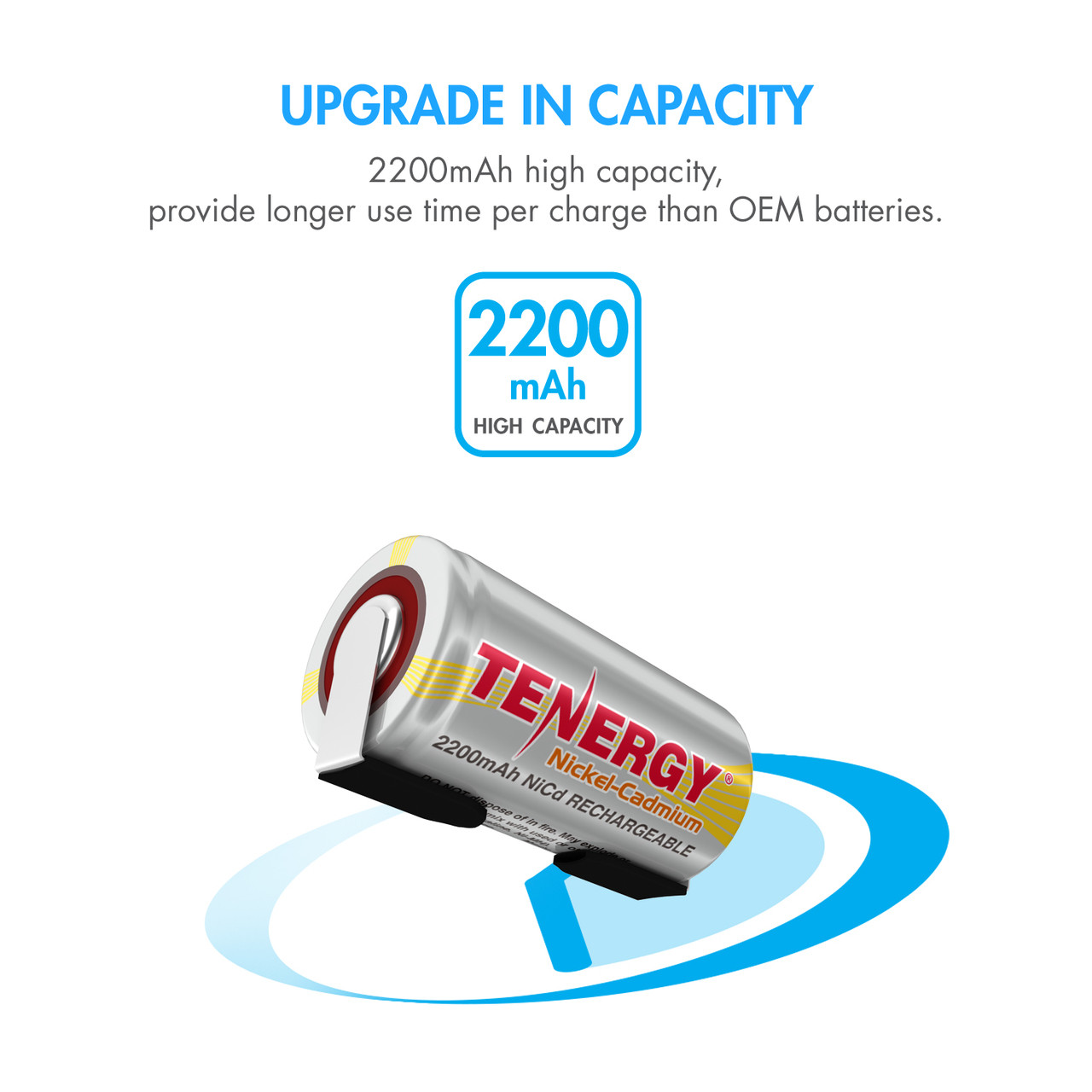Tenergy Sub C 2200mAh NiCd Flat Top Rechargeable Battery