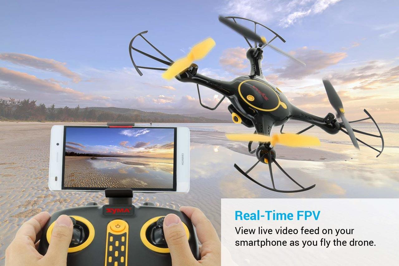 Tenergy Syma X5UW Wifi FPV Quadcopter with 720P HD Camera, Extra Battery (Exclusive Black Yellow Color)