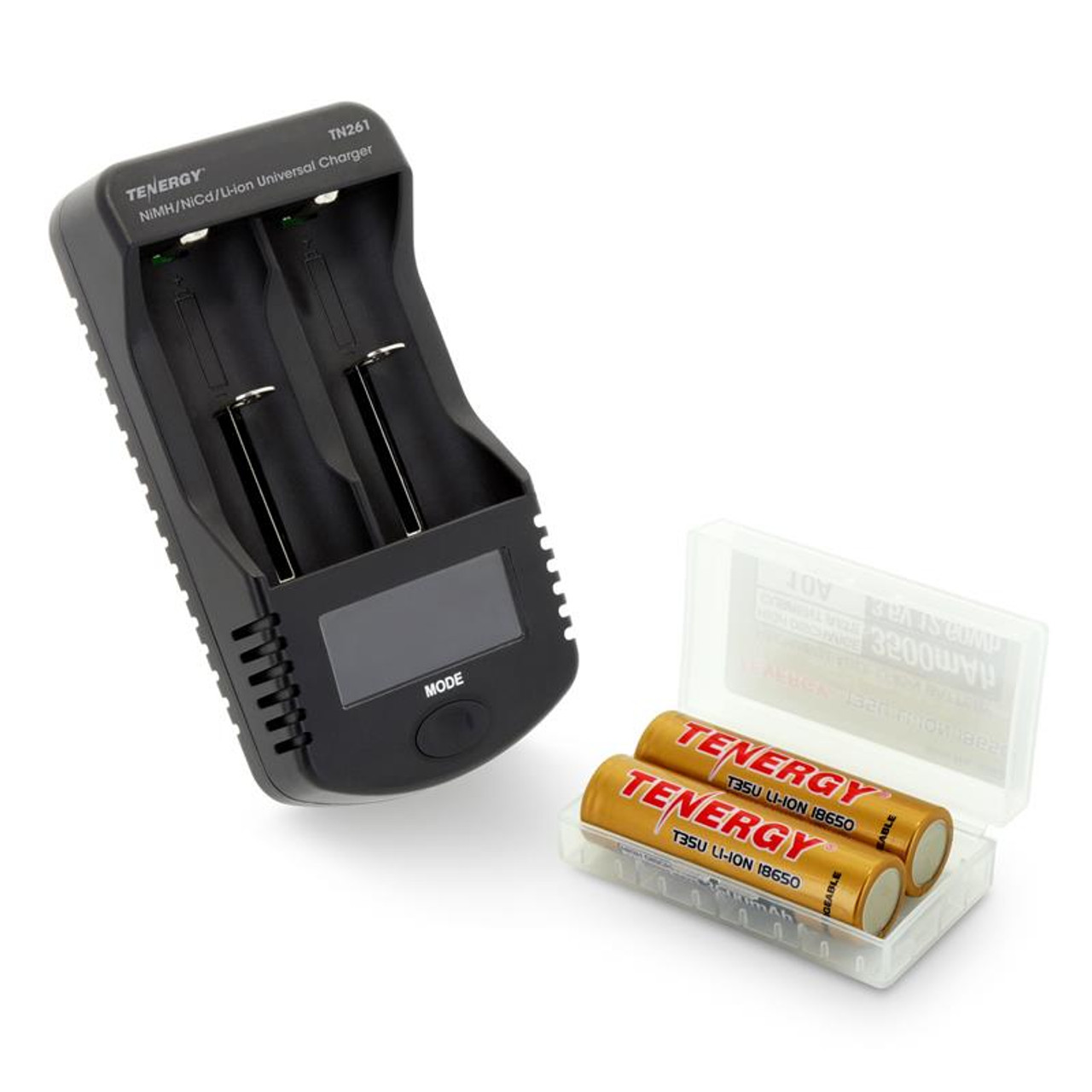 Tenergy TN261 Smart Universal Charger + 2-Pack T35U 3.6V 3500mAh 10A 18650 Li-ion Battery