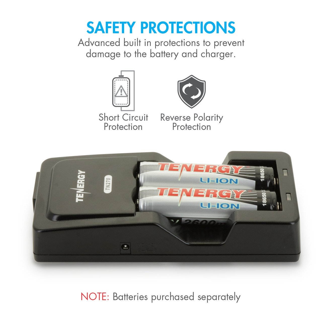 Tenergy TN270 Li-ion 18650/18500/14500 Fast Battery Charger