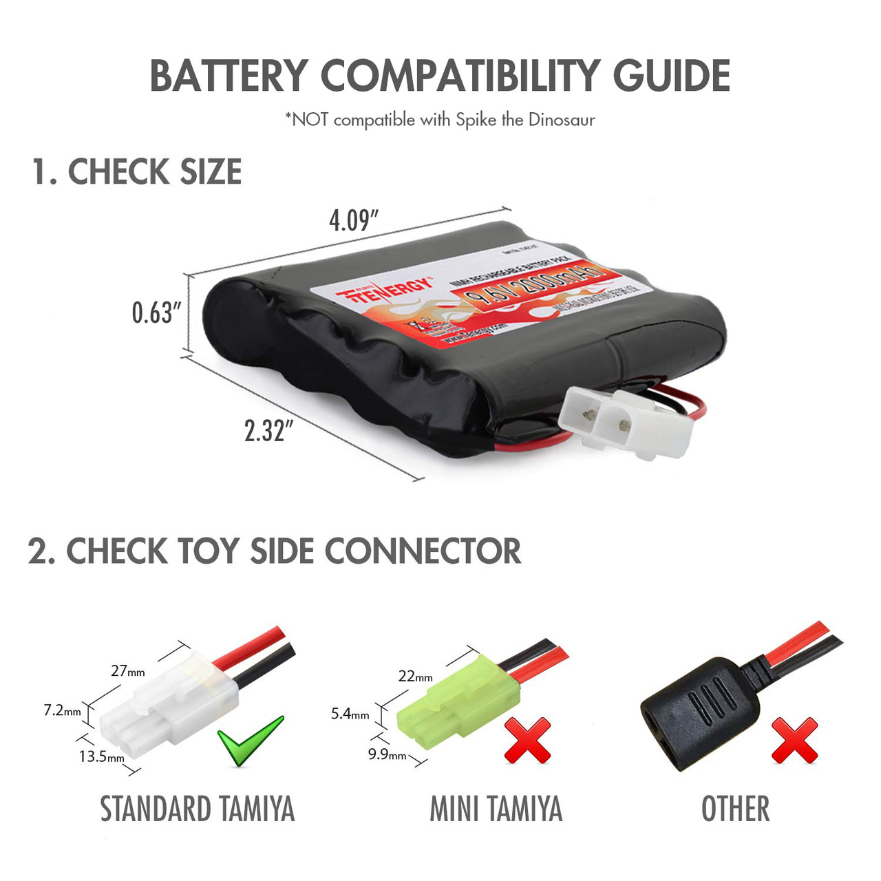 Combo: Tenergy NiMH 9.6V 2000mAh Flat Battery Pack, 2-pack + Charger (#01009), for RC and Airsoft