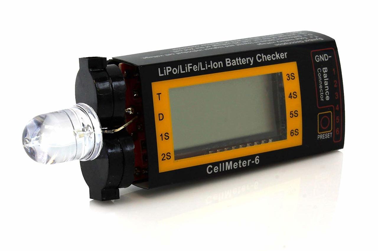 Tenergy Compact Cell Meter - LiPo Alarm and Digital Battery Checker for LiPo / LiFePO4 / Li-ion / NiMH / NiCd Battery Packs