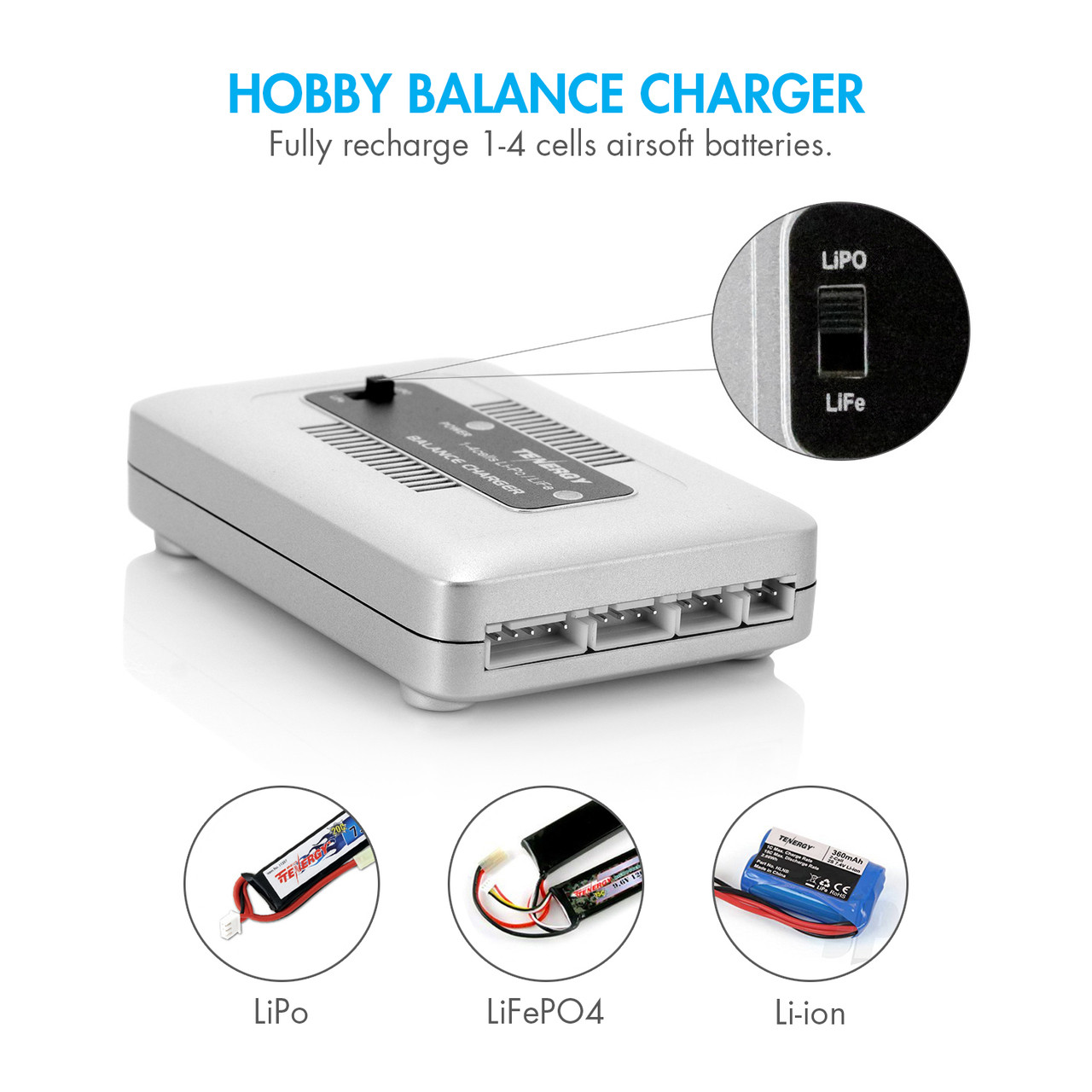 Tenergy TN267 1-4 Cells LiPO/LiFe Balance Charger - Great For Airsoft & RC Car Battery Packs