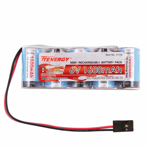 Tenergy 6V 1600mAh NiMH Side by Side Battery Pack with Hitec Connector