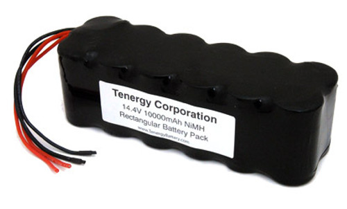 AT: Tenergy 14.4V 10000mAh NiMH Rechargeable Battery Pack (12S1P, 144.0Wh, 10A Rate, 2 Sets Bare Leads)