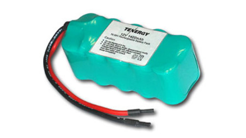 AT: Tenergy 12V 1600mAh NiMH Rechargeable Battery Pack (10S1P, 19.2Wh, for RC Aircraft, Flat Mini Config.)