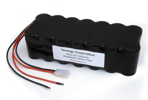 AT: Tenergy 24V 5000mAh NiCd Rechargeable Battery Pack (20S1P, 120Wh, 4A Rate, Bare Leads + Standard Tamiya Connector)