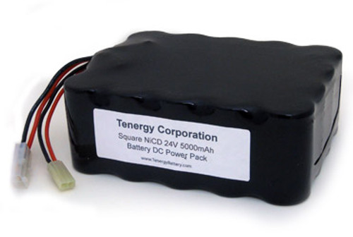 AT: Tenergy 24V 5000mAh NiCd Rechargeable Battery Pack (20S1P, 120Wh, 4A Rate, Square Config., Standard + Mini Tamiya Connector)
