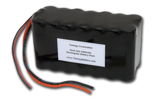 AT: Tenergy 24V 3800mAh NiMH Rechargeable Battery Pack (20S1P, 91.2Wh, 10A Rate, 2 Sets of Bare Leads)
