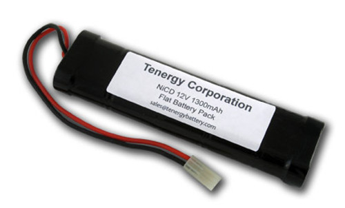 AT: Tenery 12V 1300mAh NiCd Rechargeable Battery Pack (10S1P, 15.6Wh, 13A Rate, Mini Tamiya Connector, Flat Config)
