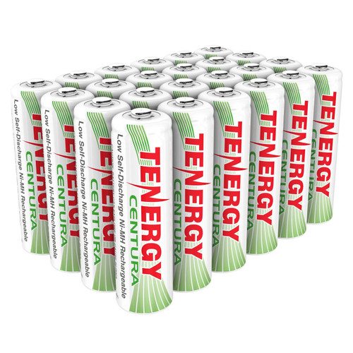 Combo: Tenergy Centura NiMH AA 1.2V 2000mAh Rechargeable Batteries, 24-pack (6 x Cards)