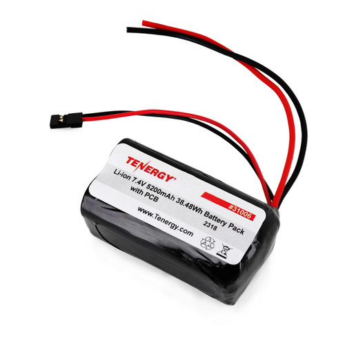 AT: Tenergy Li-Ion 18650 7.4V 5200mAh Square Rechargeable Battery Pack w/ PCB (2S2P, 38.48Wh, 5A Rate, Bare Leads + Hitec Connector)