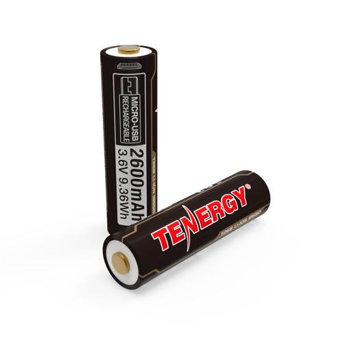 Tenergy T26B USB Rechargeable 18650 Li-Ion 2600mah Battery, 2-Pack