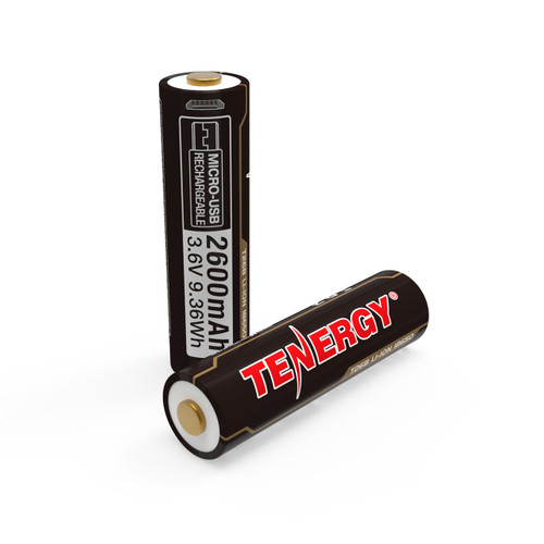 Tenergy T26B USB Rechargeable 18650 Li-Ion 2600mah Battery, 2-Pack