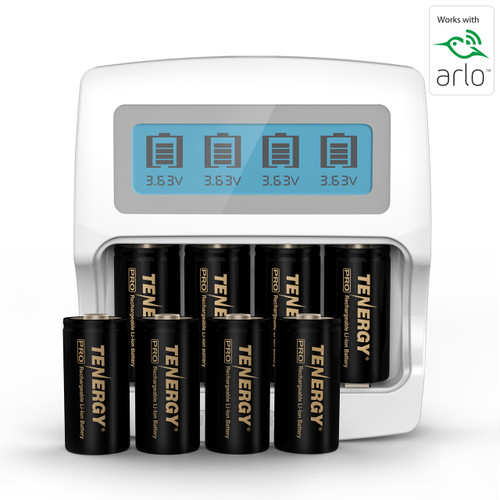 Premium High Capacity Rechargeable Battery (8-Pack and Charger) Arlo Certified Li-ion 3.7V 750mAh  and Smart Fast Charger with LCD