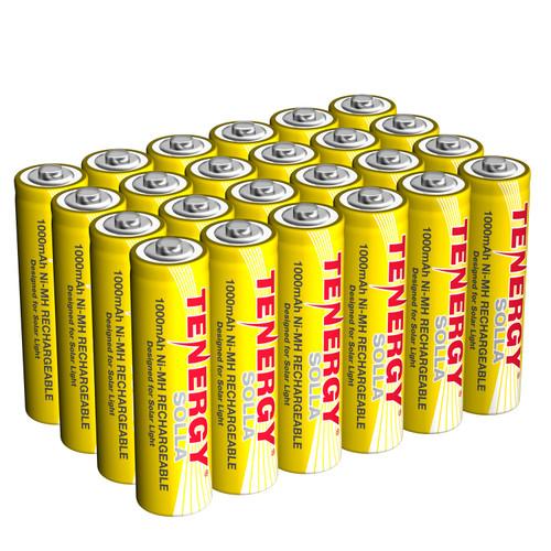 Tenergy Solla Rechargeable NiMH AA Battery, 1000mAh Solar Batteries for Solar Garden Lights, Anti-Leak, Outdoor Durability, 5+ Years Performance, 24 PCS, UL Certified