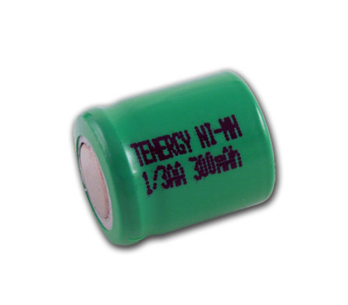 Tenergy 1/3AA 300mAh NiMH Flat Top Rechargeable Battery