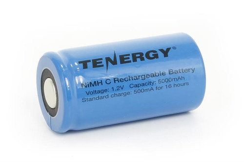 Tenergy C 5000mAh NiMH Flat Top Rechargeable Battery