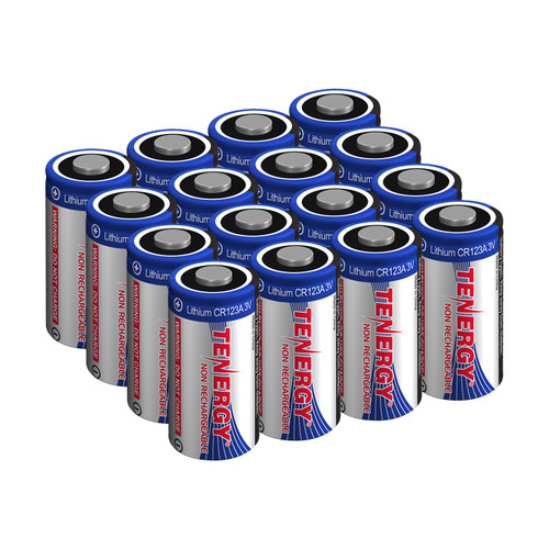Tenergy Lithium CR123A 3V Non-rechargeable Batteries w/ PTC, 16-pack