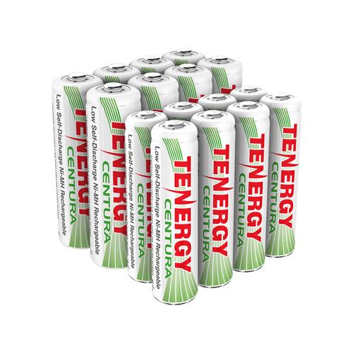 Combo: 16pcs Tenergy Centura NiMH 1.2V Rechargeable Batteries, (8AA/8AAA)