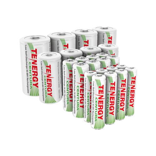 Combo: 24pcs Tenergy Centura NiMH 1.2V Rechargeable Batteries, (8 AA/8 AAA/4 C/4 D)