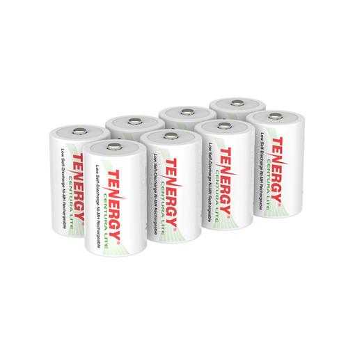 8pcs Tenergy Centura Lite NiMH D 1.2V 3000mAh Rechargeable Batteries