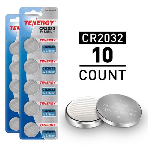 10pcs (2 x Cards) Tenergy CR2032 Lithium Button Cells