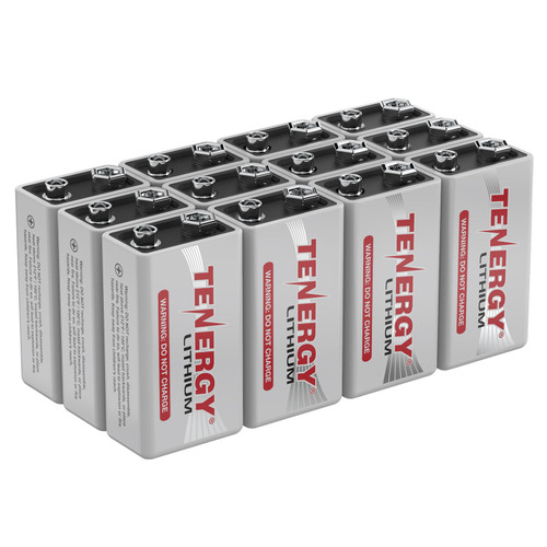 12-Pack, Tenergy 9V Lithium Battery, 1200mah with 10 years shelf life - [Non-Rechargeable]