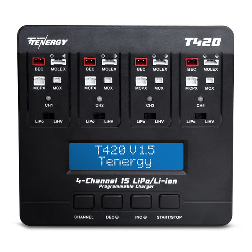 Tenergy T420 4-channel charger for 1S LiPo/LiHV rechargeable batteries built-in JST/BEC, Molex/Losi, MCX, MCPX connectors