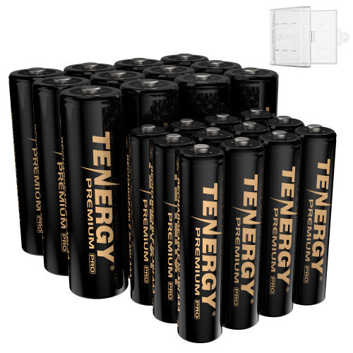 Tenergy Premium PRO Rechargeable AA and AAA Batteries Combo, High Capacity Low Self-Discharge 2800mah AA and 1100mAh NiMH AAA Battery, 24 Pack, 12 AA and 12 AAA