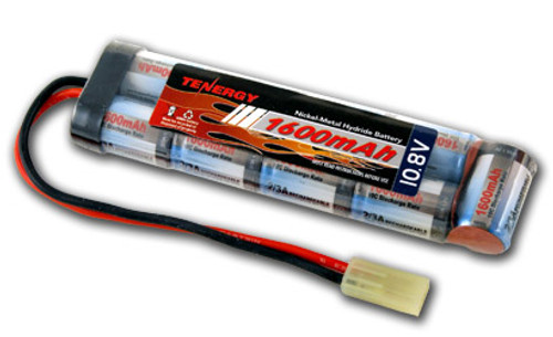 AT: Tenergy NiMH 10.8V 1600mAh Rechargeable Battery Pack (9S1P, 17.3Wh, 16A Rate, Mini Tamiya Connector)