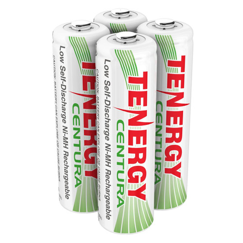 4pcs (1 x card) Tenergy Centura NiMH AA 1.2V 2000mAh Rechargeable Batteries