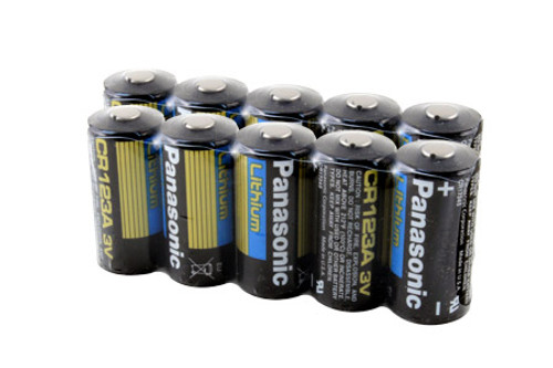 10 PCS of Panasonic Lithium CR123A 3V Batteries