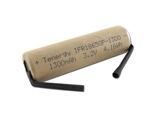 Tenergy 3.2V 1300mAh 4.16Wh LiFePO4 (IFR18650P) Power Cell Rechargeable Battery  - UL Listed