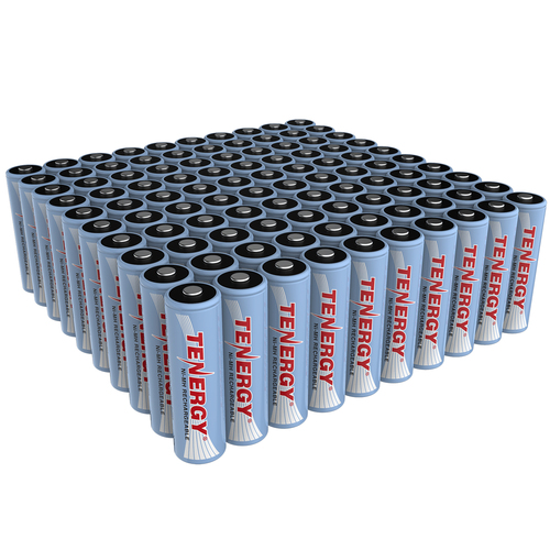 Combo: 100 pcs Tenergy AA 2500mAh NiMH Rechargeable Batteries