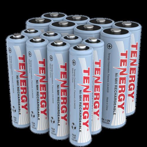 Combo: 16 pcs NiMH Rechargeable Batteries (8AA/8 AAA)