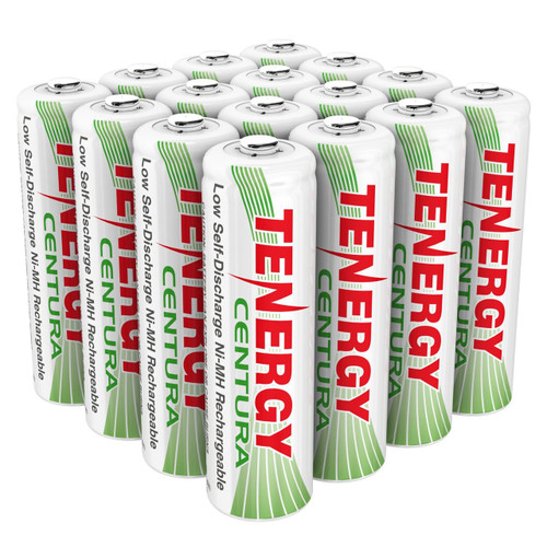 Combo: Tenergy Centura NiMH AA 1.2V 2000mAh Rechargeable Batteries, 16-Pack (4 x cards)