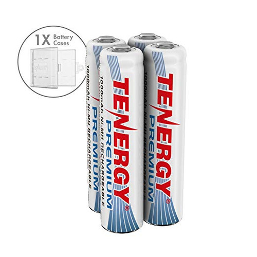 Combo: 4 pcs Tenergy Premium AAA 1000mAh NiMH Rechargeable Batteries + 1 AAA Size Holder