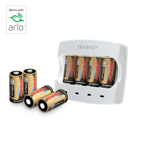 Rechargeable Batteries (8-Pack and Charger) Arlo Certified Li-ion 3.7V 650mAh Battery for Arlo Wireless Camera - VMC3030 (UL & UN certified)