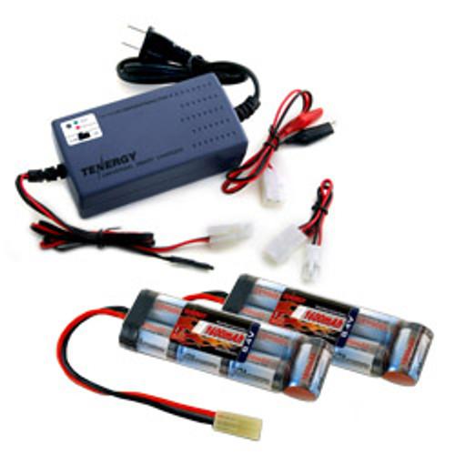 Combo: Tenergy Smart Universal Charger for 7.2V-12V (#01005) + 2 pcs 8.4V Mini 1600mAh NiMH Flat Battery Pack