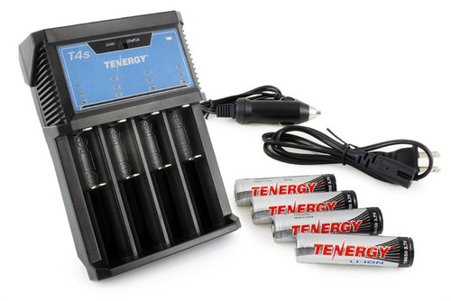 Combo: Tenergy T4s Intelligent 4-Bay Universal Charger + 4 x Tenergy 18650 2600mAh Li-ion Button Top Rechargeable Batteries