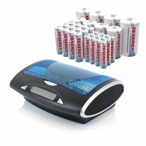 Combo: Tenergy T9688 Universal LCD Battery Charger + 32 Premium NiMH Rechargeable Batteries (12AA/12AAA/4C/4D)