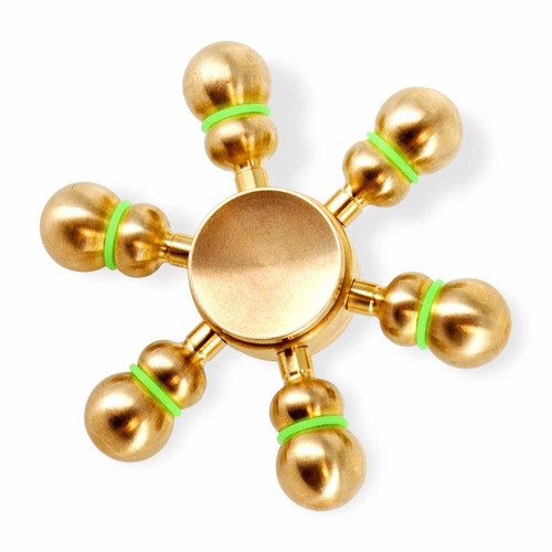 Premium Fidget Spinners, Heavy Duty Solid Brass Copper, R188 Bearing, 4 to 5 Minutes Spinning, Gold Color