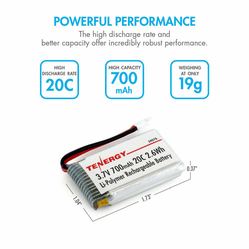 3.7V 700mAh LiPo Battery Pack (Compatible with Syma X5, X5C, X5SC, on